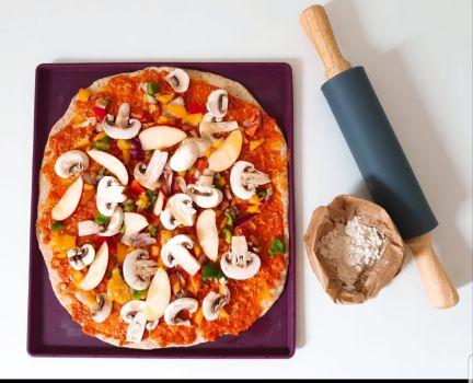 Pizza de verduras con masa integral de Espeltacasera.